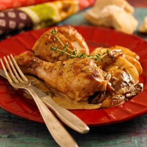 pollo con manzanas baja