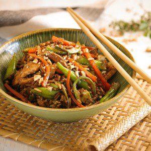 sarteneado de pollo y arroz baja