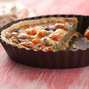 tarta de berenjenas y tomatines