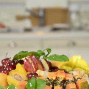 Torta de frutas con helado