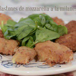 Bastones de mozzarella a la milanesa
