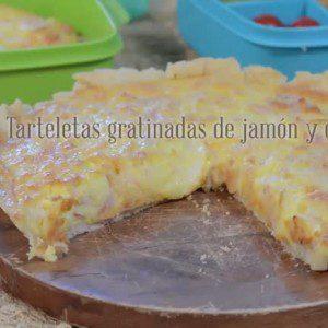 Tarteletas gratinadas de jamón y queso